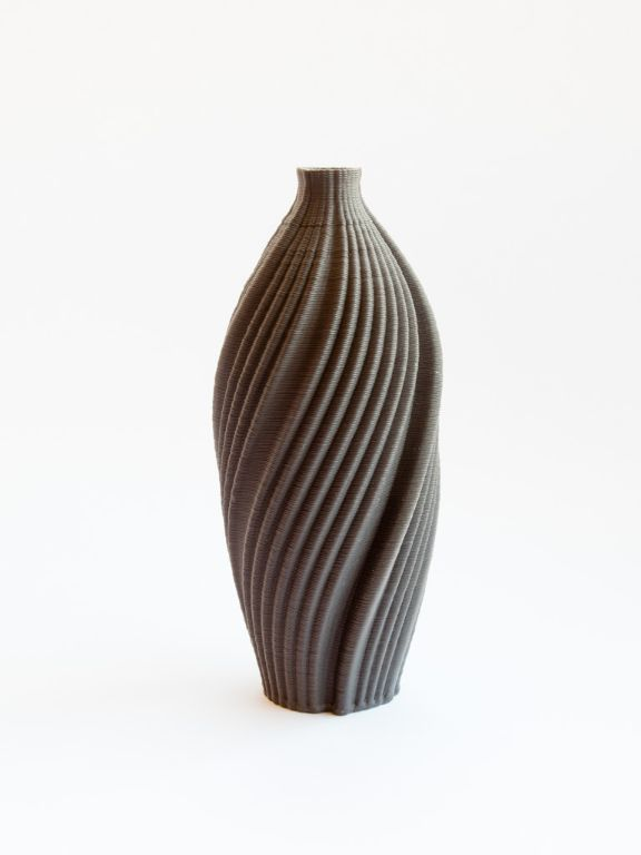 twisted bark bottle, black porcelain