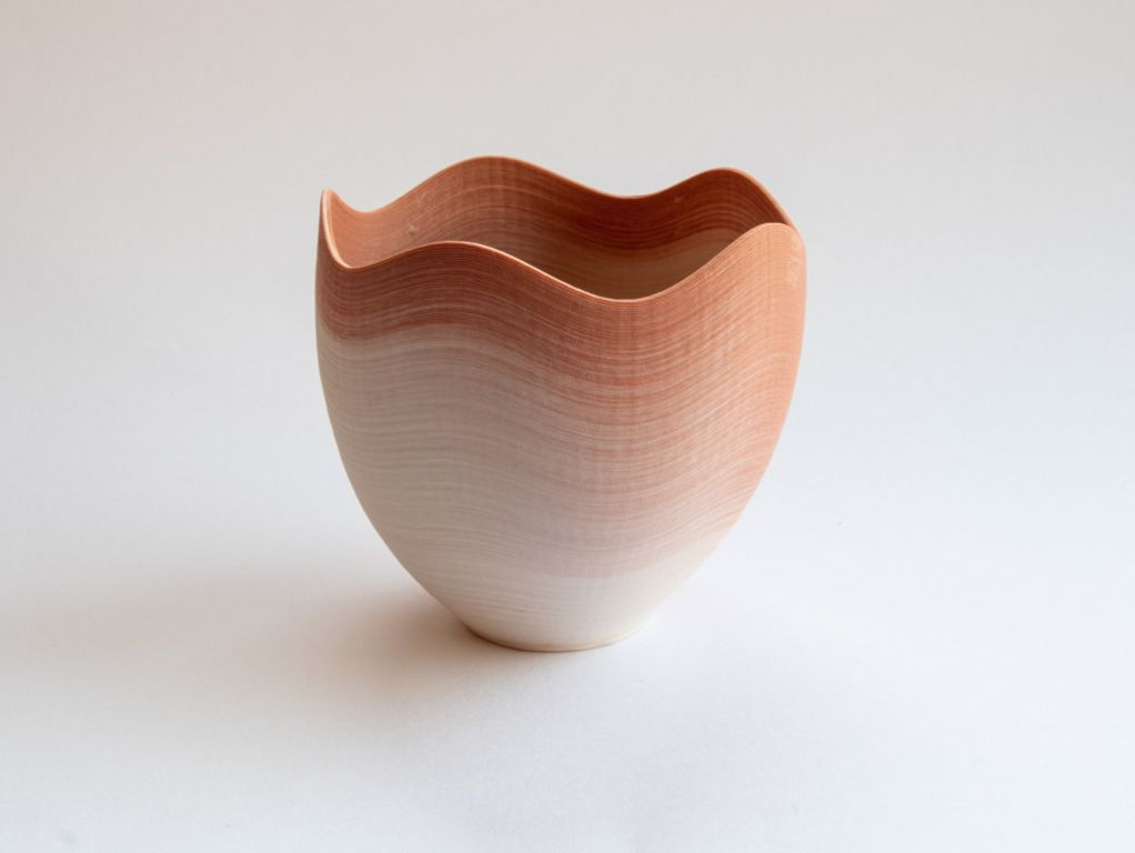 wave bowl, red/white porcelain